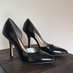 BCBG Paris Jaze patent black heels.